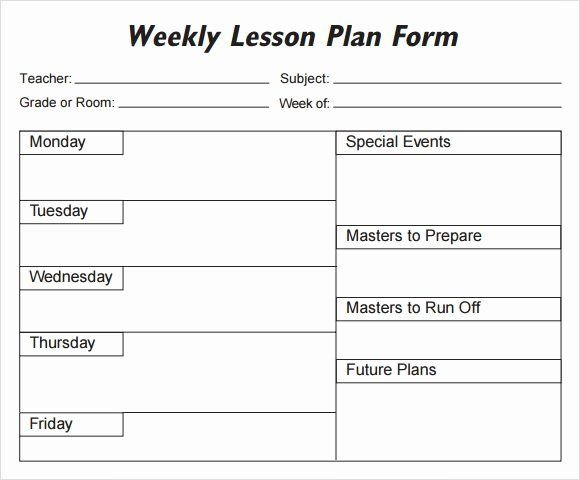 Printable Weekly Lesson Plan Template Weekly Lesson Plan Template Elementary Luxury Weekly Lesson