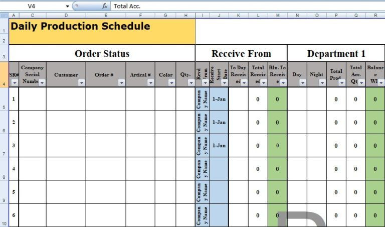 Production Plan Template Daily Production Schedule Template Excel