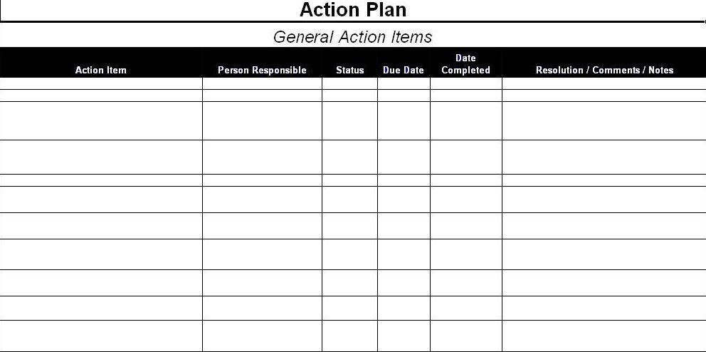 Project Action Plan Template Excel Pin On Personal Growth