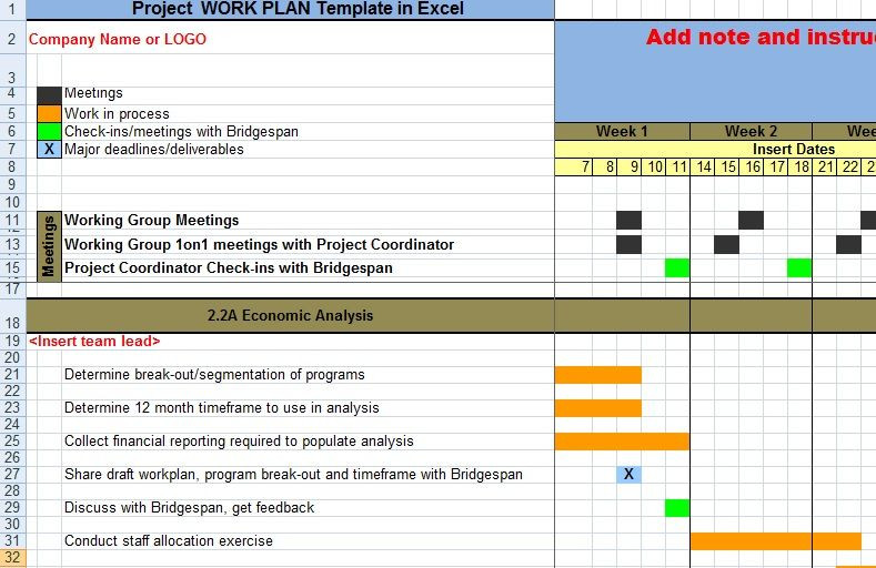 Project Action Plan Template Excel Project Work Plan Template In Excel Xls