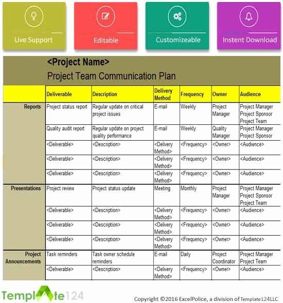 Project Communication Plan Template Excel Project Management Munication Plan Template Inspirational