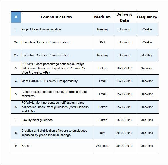 Project Communication Plan Template Excel Project Munication Plan Template Inspirational Project