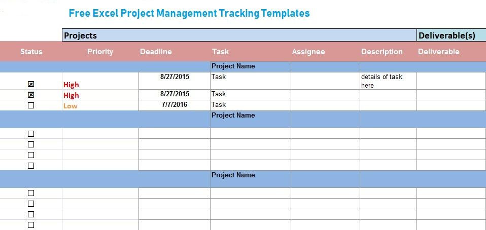 Project Execution Plan Template Excel Free Excel Project Management Tracking Templates Excel