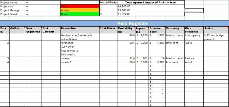 Project Execution Plan Template Excel Prince2 Risk Register and Quality Management Excel Templates