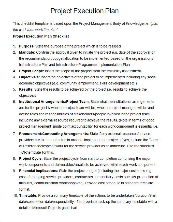 Project Execution Plan Template Excel Word Pdf Excel Apple Pages