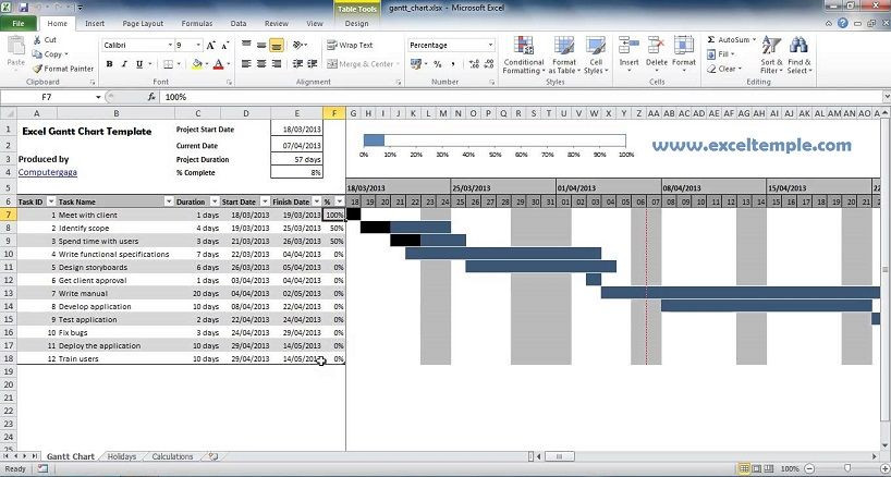 Project Plan Template Excel 2013 Project Gantt Chart Excel Template 2014