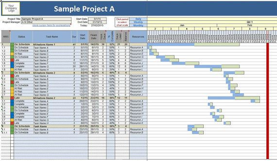 Project Plan Template Excel 2013 Project Planner Work Task Time Manager Gantt Chart Excel