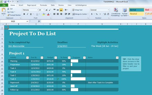 Project Plan Template Excel 2013 Project Task List Template for Excel 2013