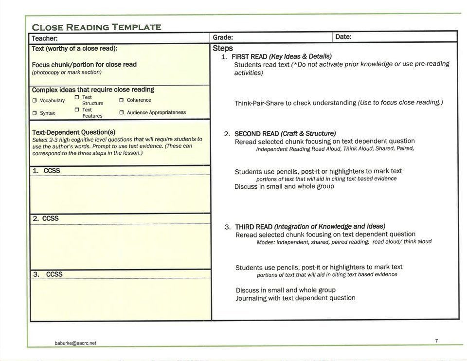 Read Aloud Lesson Plan Template Image Result for Close Reading Lesson Plan Template