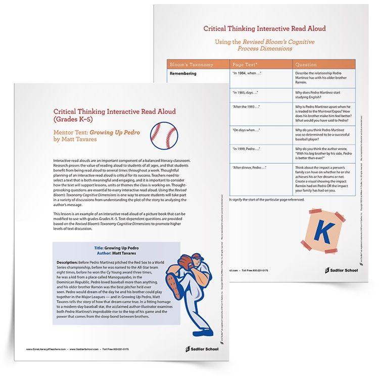 Read Aloud Lesson Plan Template Interactive Read Aloud Core Literacy Blog