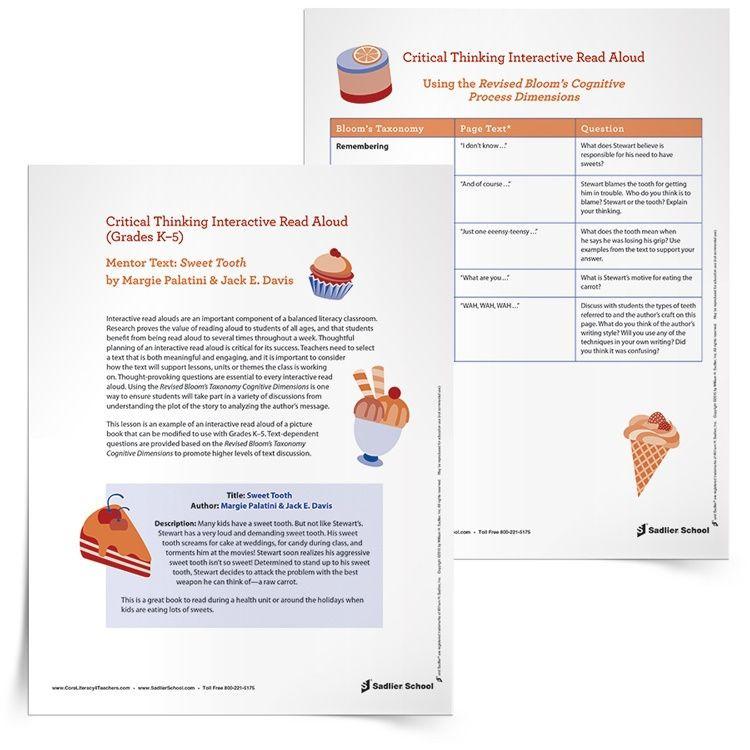 Read Aloud Lesson Plan Template Interactive Read Aloud Lesson Template Of Sweet tooth by