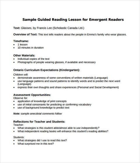 Read Aloud Lesson Plan Template Sample Guided Reading Lesson Plan format