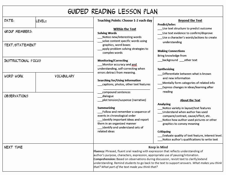 Readers Workshop Lesson Plan Template Literacy Lesson Plan Template Fresh D Reading Lesson Plan
