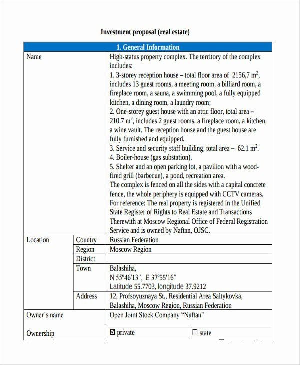 Real Estate Business Plan Template Real Estate Proposal Template Awesome Free 21 Investment