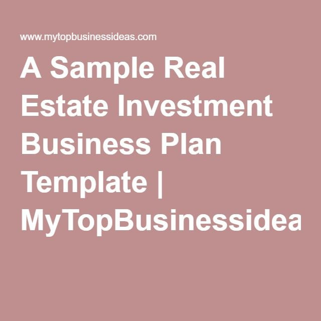 Realtor Business Plan Template A Sample Real Estate Investment Business Plan Template
