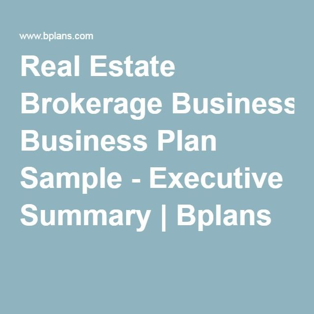Realtor Business Plan Template Real Estate Brokerage Business Plan Sample Executive