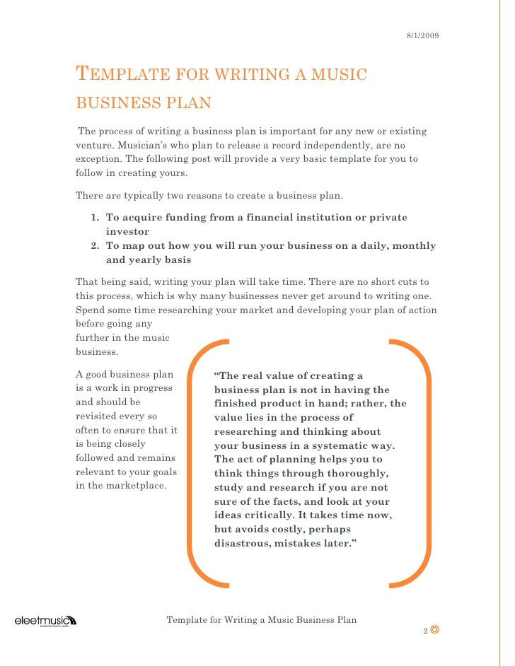 Record Label Business Plan Template Slide Template for Writing A Music Business Plan