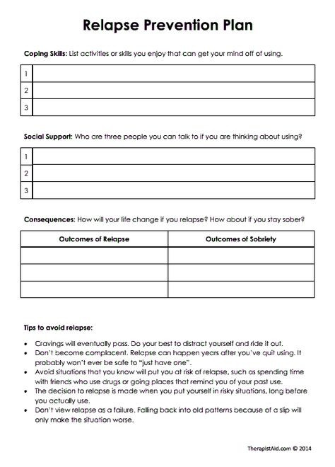 Relapse Prevention Plan Template Addiction