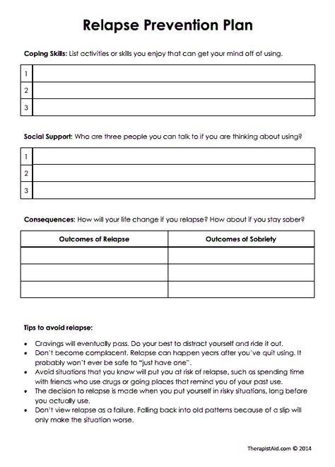 Relapse Prevention Plan Worksheet Template Addiction