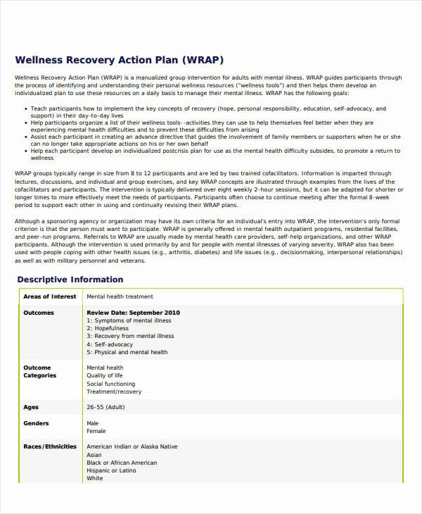 Relapse Prevention Plans Template Wellness Recovery Action Plan Pdf Unique 11 Wellness