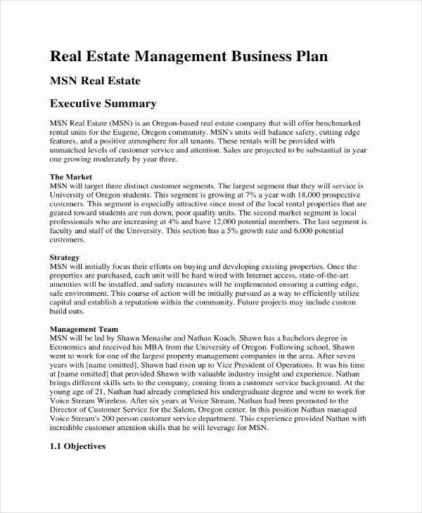 Rental Property Business Plan Template Realtor Business Plan Template Elegant 11 Mercial Real