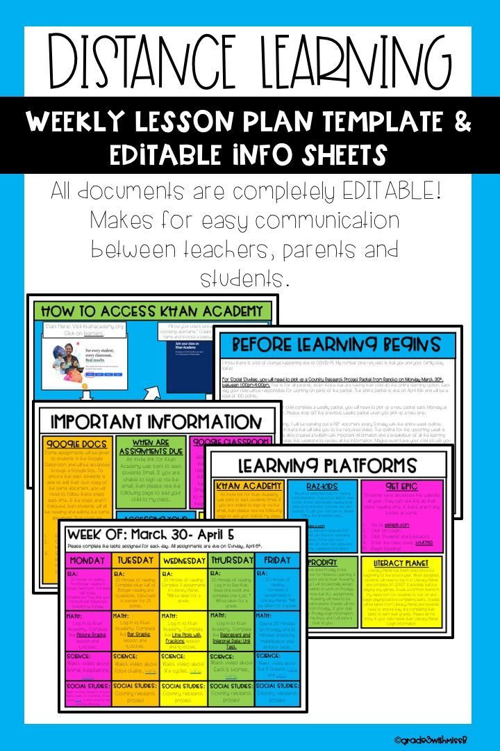 Resource Room Lesson Plan Template Distance Learning Lesson Plan Template & Info Sheets In