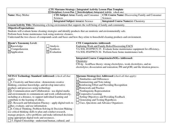Robert Marzano Lesson Plan Template Scope Of Work Template