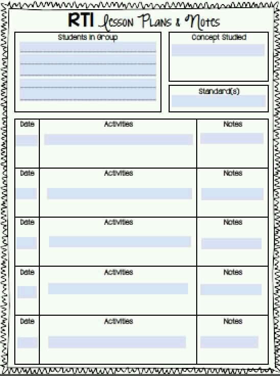Rti Lesson Plans Template 31 Weekly Plan