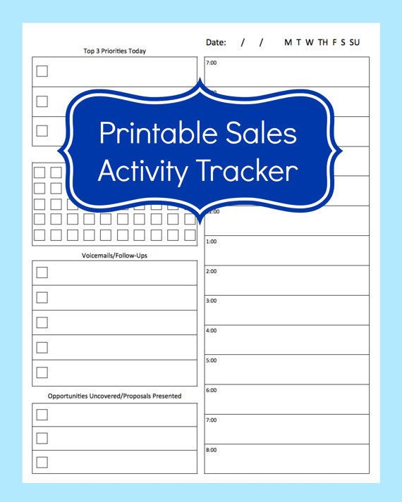 Sales Daily Planner Template Sales Activity Tracker Daily Planner Cold Call Tracker
