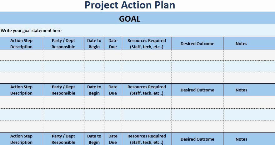 Sales Planning Template Excel Action Plan Template Excel Elegant 3 Free Project Action
