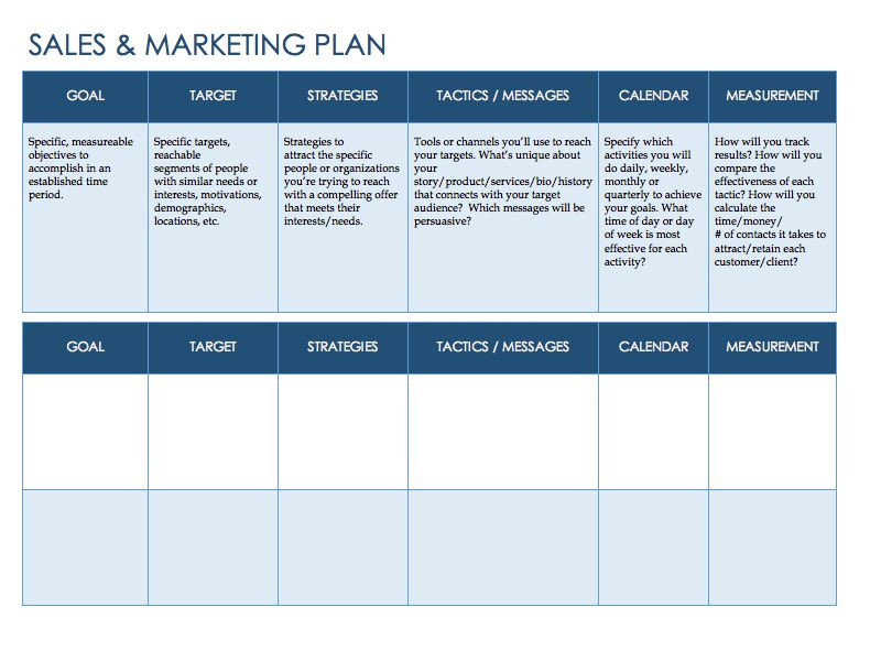 Sales Planning Template Excel Free Sales Plan Templates Smartsheet