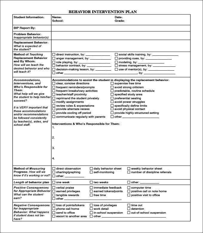 Sample Behavior Intervention Plan Template Behavior Intervention Plan Template Interesting 10 Behaviour