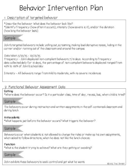 Sample Behavior Intervention Plan Template the Bender Bunch Creating A Behavior Intervention Plan Bip