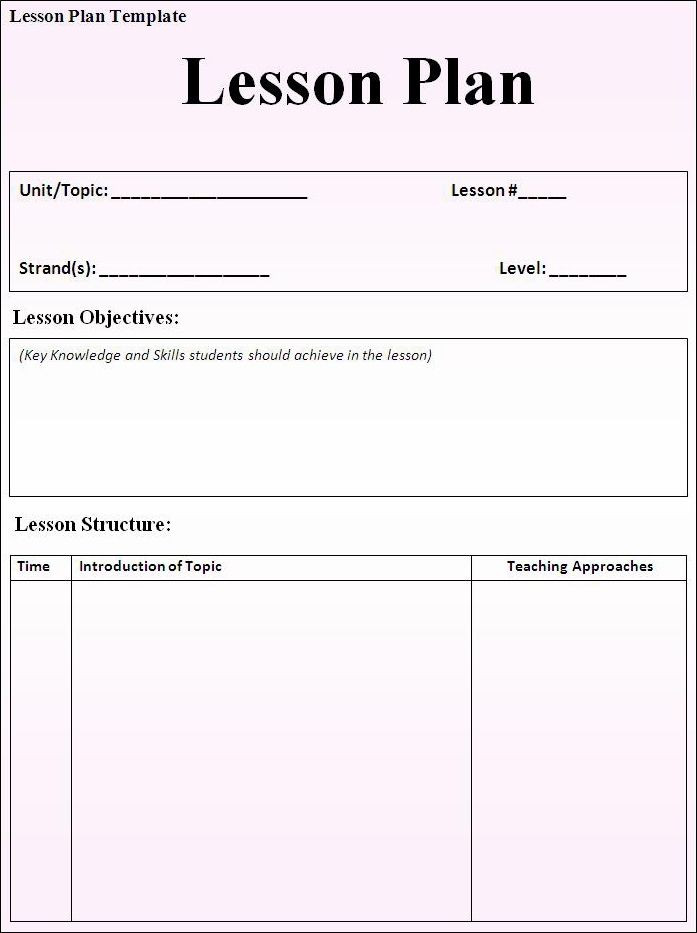 Sample Lesson Plan Template Lesson Plan Template 697—933 Pixels