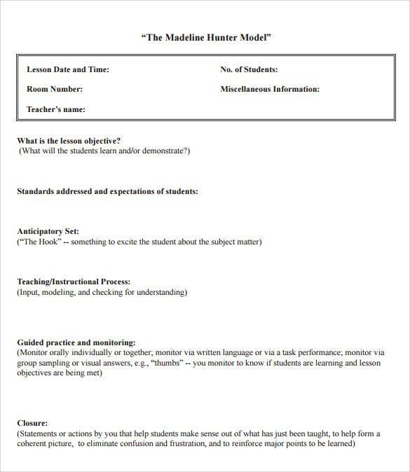 Sample Lesson Plan Template Madeline Hunter Lesson Plan Template