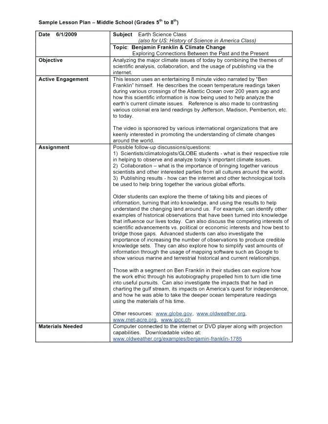 Sample Lesson Plan Template Middle School Lesson Plan Template for Sample Templates High
