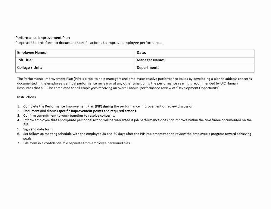 Sample Performance Improvement Plan Template Documenting Employee Performance Template New 41 Free