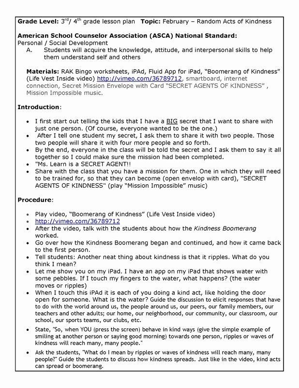 School Counselor Lesson Plan Template 5th Grade Lesson Plan Template Elegant Kindness Lesson Plan