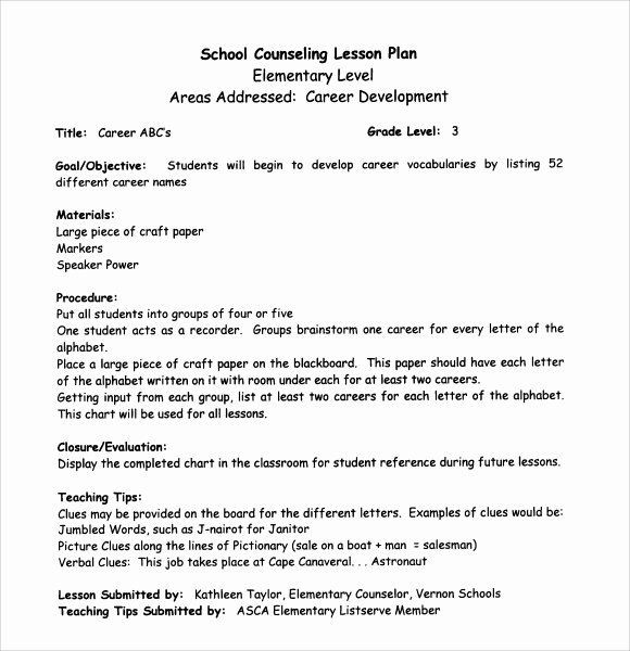 School Counselor Lesson Plan Template Elementary School Lesson Plans Template Best Sample