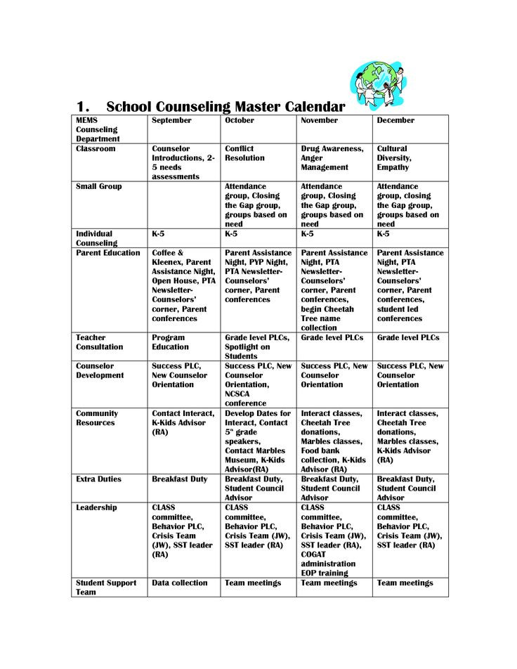 School Counselor Lesson Plan Template School Counseling Master Calendar by Stariya