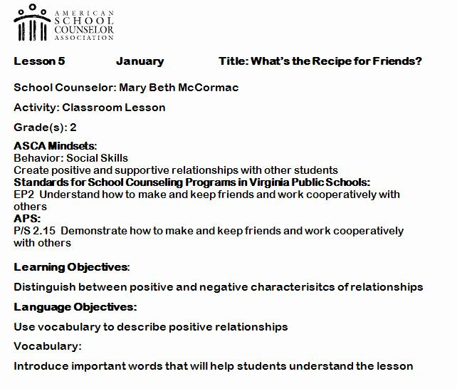 School Counselor Lesson Plan Template School Counselor Lesson Plans Unique Elementary Counseling