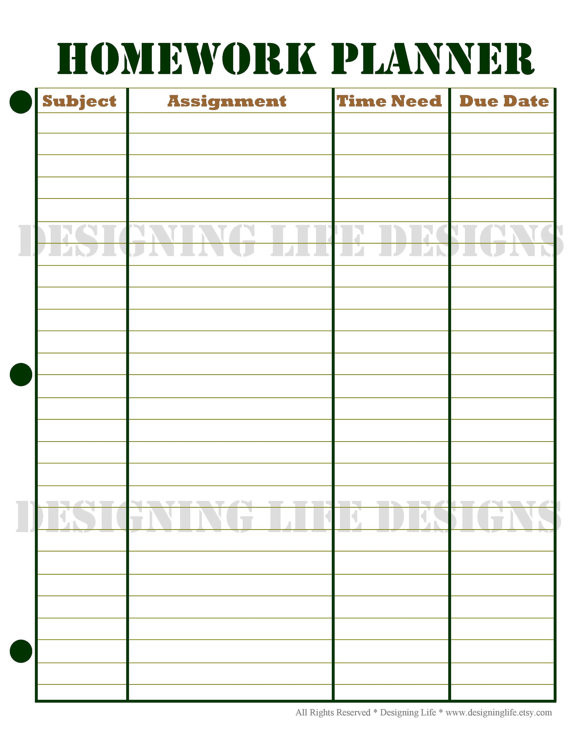 School Planner Template Homework Planner and Weekly Homework Sheet by Designinglife