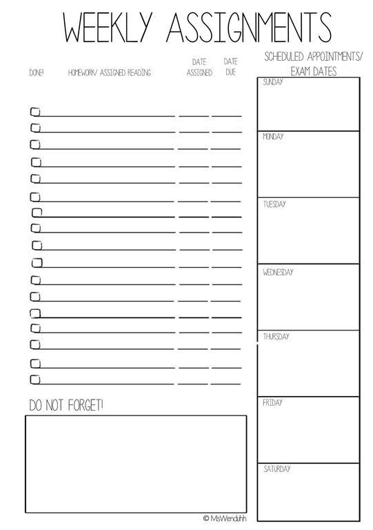 School Planner Template Weeklyassigna52