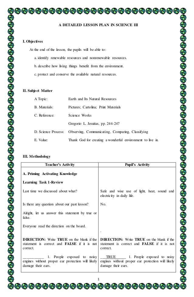 Science Lesson Plan Template 4a S Detailed Lesson Plan In Science 3
