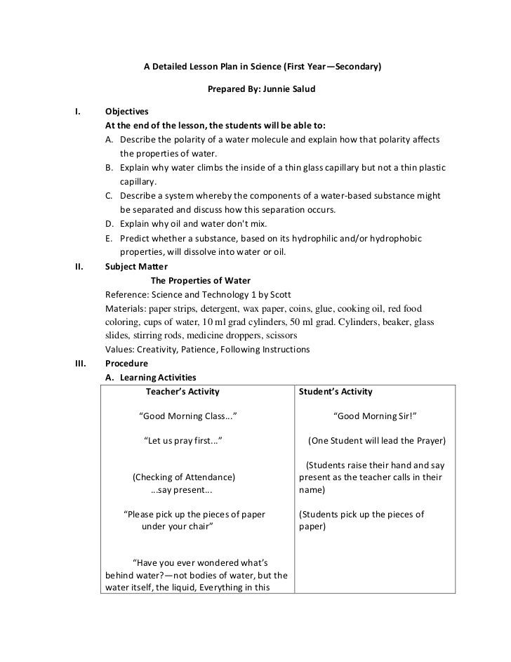 Science Lesson Plan Template Detailed Lesson Plan English Math Science Filipino In