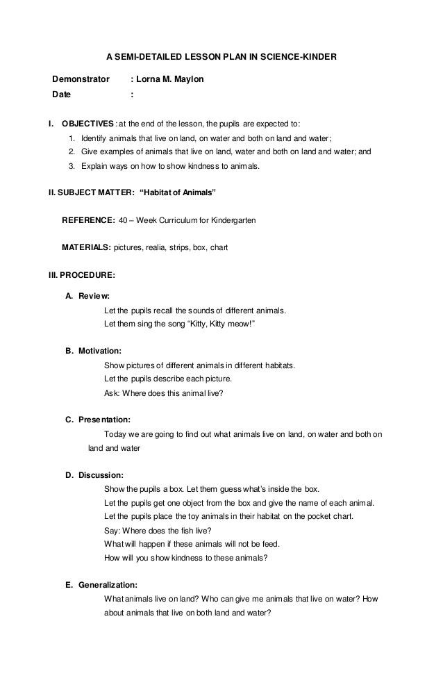 Science Lesson Plan Template Lesson Plan Science Kinder Lesson Detailed Plan Science