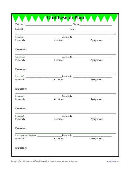 Second Grade Lesson Plan Template Detailed Unit Lesson Plan Template Elementary Reading