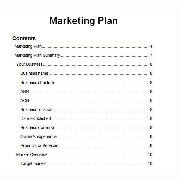 Simple Marketing Plan Template Word Marketing Plan Structure Marketing Structure Struktur
