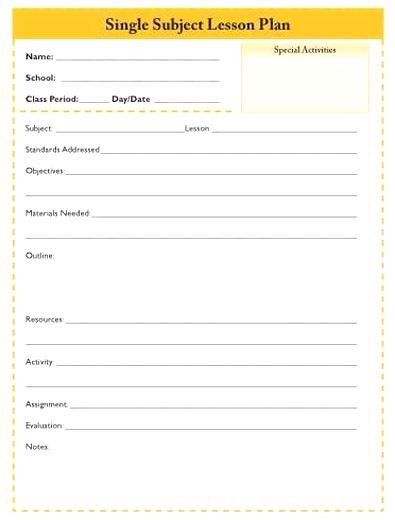 Single Subject Lesson Plan Template One Subject Lesson Plan Template Daily Single Subject Lesson