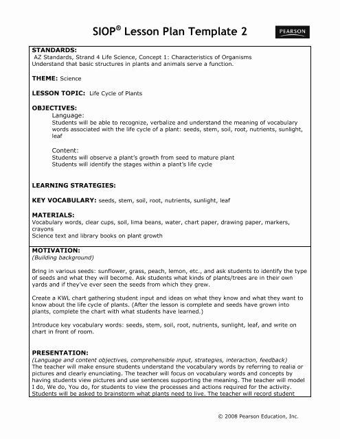 Siop Lesson Plan Template 2 Siop Lesson Plan Template 2 Beautiful Siop Lesson Plan